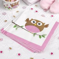 Little Owls Pink Napkins (16)